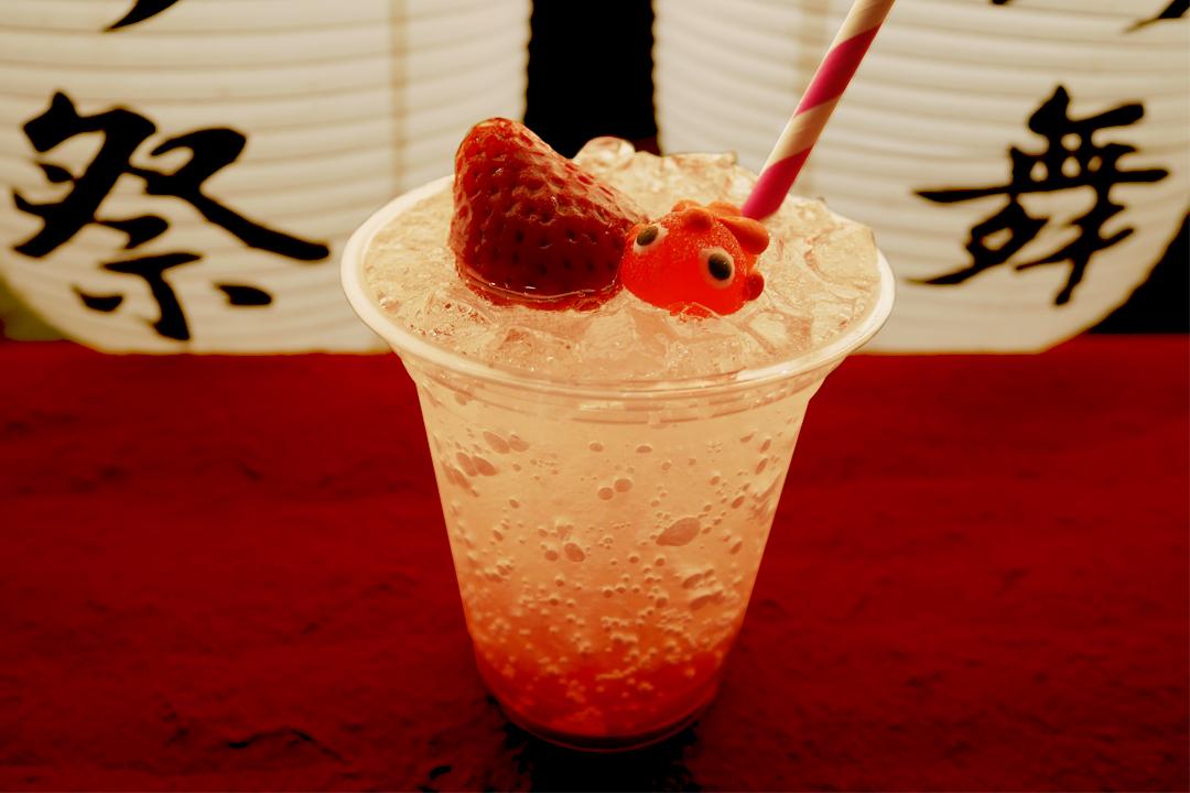 赤金魚の オリジナル苺ソーダ